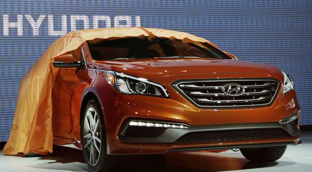 The 2015 Hyundai Sonata is introduced at the New York International Auto Show (AP)