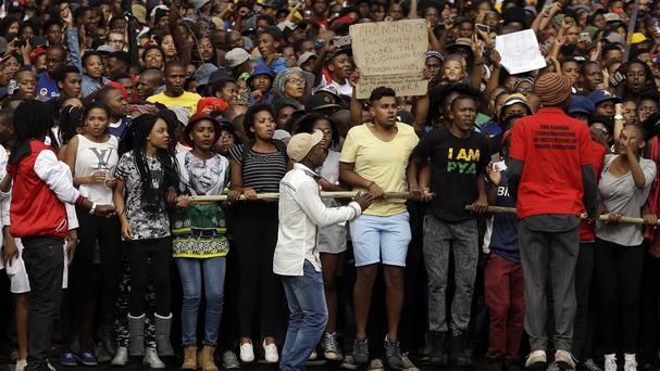 University students march during their protest in Johannesburg, South Africa. (AP)