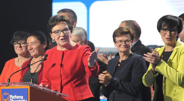 Prime Minister and leader of the ruling Civic Platform Ewa Kopacz could be facing defeat (AP)