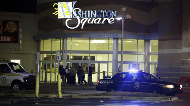 Police at the entrance at the Washington Square Mall in Indianapolis (AP)