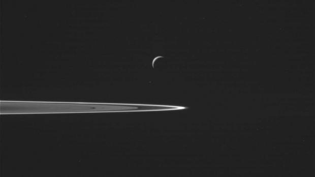 Saturn's moon Enceladus is seen above the planet's rings as as the Cassini spacecraft prepared to make a close flyby (NASA/JPL-Caltech/Space Science Institute via AP)