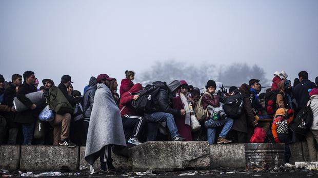 Migrants gather to gain entrance to Austria, at the Slovenian-Austrian border (AP)