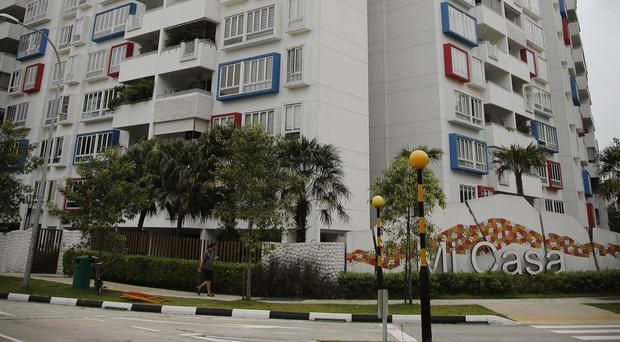 The apartment block in Singapore where Australian jockey Tim Bell lived. (AP)