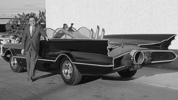 Designer George Barris pictured in 1966 with the original Batmobile in Los Angeles (Lozzi Media Services/Barris Kustom Industries/AP)
