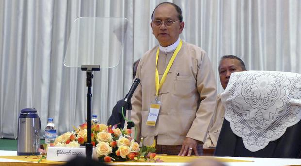 President Thein Sein speaks during a meeting with representatives of political parties (AP)