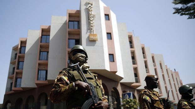 Tight security surrounds the Radisson Blu hotel in Bamako, Mali (AP)