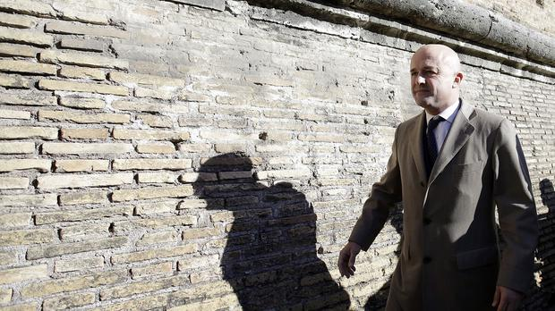 Italian journalist Gianluigi Nuzzi arrives at the Vatican (AP)