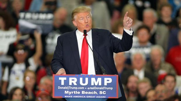 Republican presidential candidate Donald Trump speaks during a campaign event at the Myrtle Beach Convention Centre (AP)