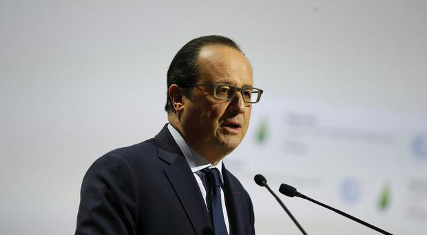 French president Francois Hollande delivers his speech at the opening ceremony of the COP21 (AP)