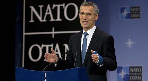 Nato secretary-general Jens Stoltenberg speaks during a conference in Brussels (AP)