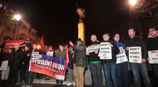 A rally opposing air strikes on Syria at the War Memorial in Londonderry last night
