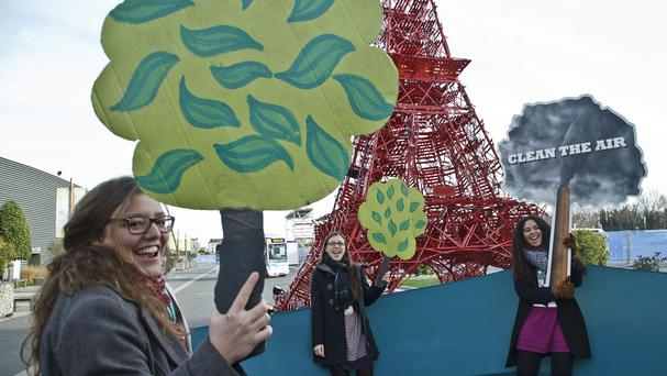 Representatives of NGOs hold cut-outs of trees and shout 'clean the air, plant a tree' (AP)