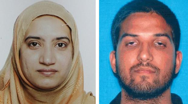Tashfeen Malik, left, and Syed Farook died in a fierce gun battle with authorities several hours after the attack (FBI/California Department of Motor Vehicles/AP)