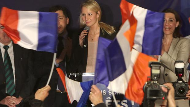 Marine Le Pen's niece, National Front leader for south-eastern France Marion Marechal-Le Pen, delivers her speech (AP)