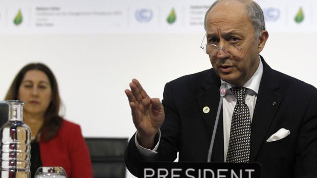 French foreign minister and acting president of the COP21 Laurent Fabius said the talks will be extended (AP)