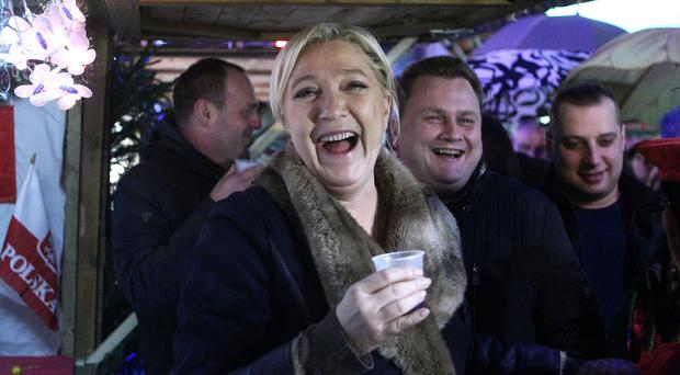 French far-right party leader Marine Le Pen on the campaign trial