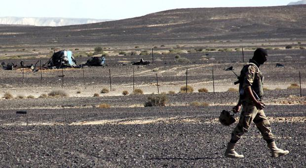 A member from the Egyptian security forces walks past debris of a Russian plane (AP)