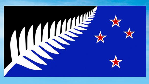 The winning flag design, Silver Fern (Black, White and Blue) by Kyle Lockwood, will now go up against New Zealand's current flag in a national vote (New Zealand Government/AP)
