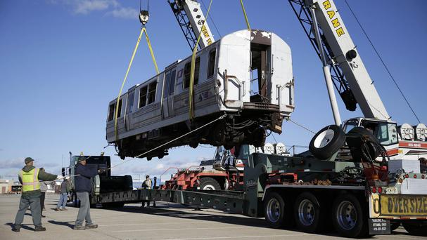 A damaged PATH train carriage has been given to the Trolley Museum of New York in Kingston (AP)