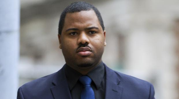 Officer William Porter arrives at court (AP)