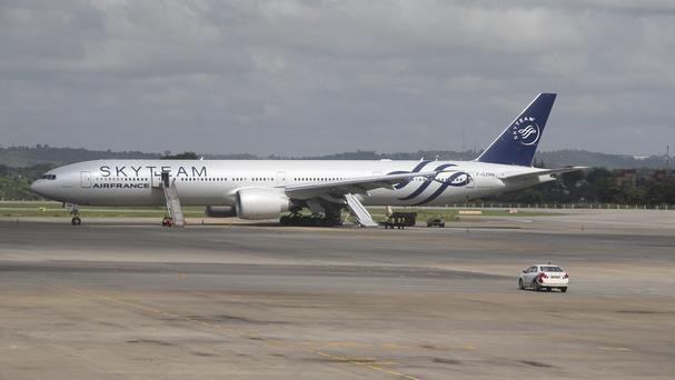 An Air France plane which made an emergency landing is seen at Moi International Airport in Mombasa, Kenya (AP)