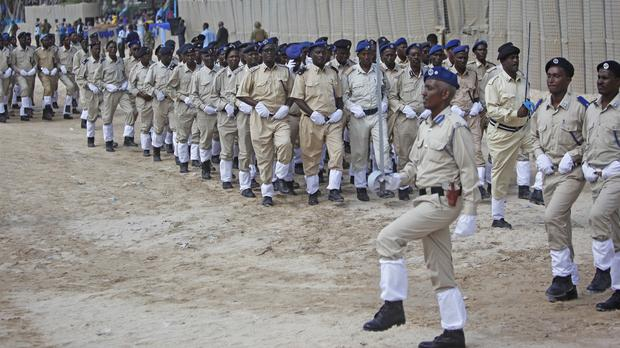 Somali police march at the police academy in Mogadishu during celebrations on the 72nd anniversary of the formation of the police force (AP)