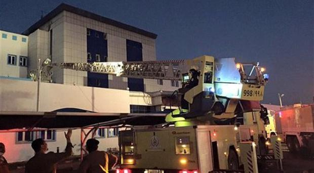 Firefighters respond to a blaze at a hospital in Jizan, Saudi Arabia (Saudi Civil Defence via AP)