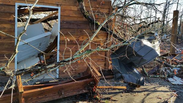 A church lies in ruins on Christmas Eve after severe weather caused damage to several buildings in Mississippi's Benton County (AP)