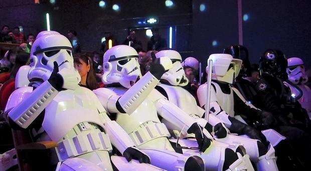 Chinese fans dressed as Stormtroopers arrive for the premiere of Star Wars: The Force Awakens in Shanghai (AP)