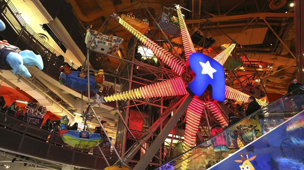 The Ferris wheel at the Toys R Us store in New York's Times Square was a huge attraction (AP)