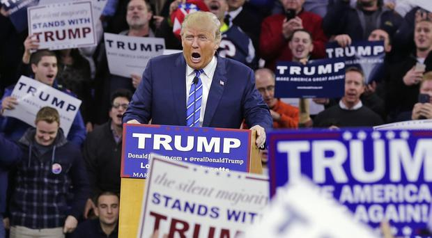Republican presidential candidate Donald Trump addresses a gathering during a campaign stop in Lowell, Massachusetts (AP)