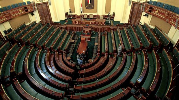 The 596-seat chamber will be packed with supporters of president Abdel-Fattah el-Sissi (AP)