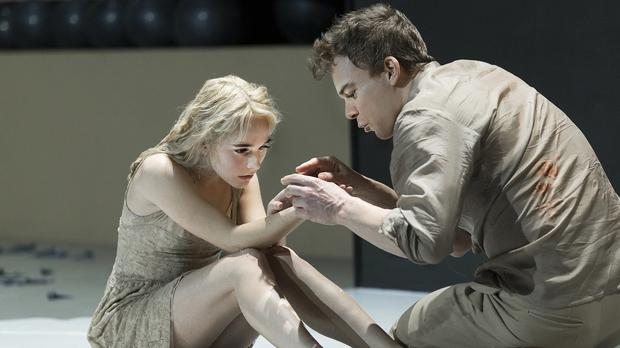 Sophia Anne Caruso and Michael C Hall in a scene from David Bowie and Enda Walsh's Lazarus (Matt Ross Public Relations/AP)