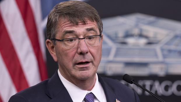 US defence secretary Ash Carter described plans to defeat IS militants and retake the group's key power centres in Iraq and Syria (AP)