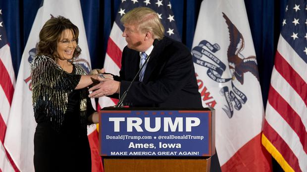 Sarah Palin endorses Republican presidential candidate Donald Trump during a rally at the Iowa State University (AP)