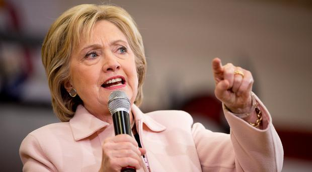 Democratic presidential candidate Hillary Clinton speaks at a rally at Grand View University in Des Moines, Iowa. (AP)