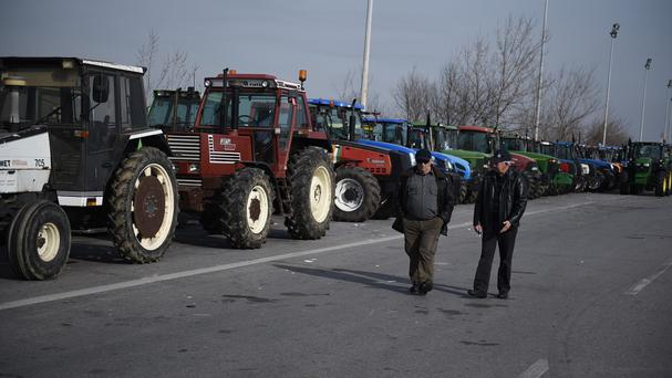 Farmers stage a blockade near Thessaloniki (AP)