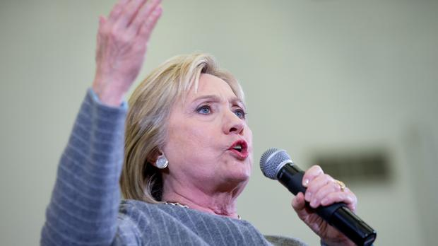 Democratic presidential candidate Hillary Clinton speaks at a rally in Des Moines, Iowa (AP)