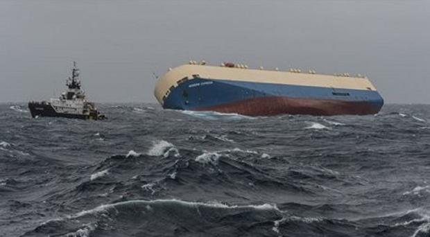 The cargo ship Modern Express drifts off the coast of France. (Loic Bernardin/ Prefecture Maritime Atlantique via AP)