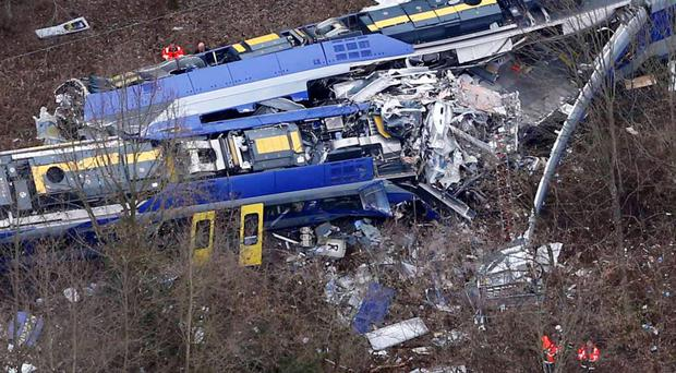 Aerial view of rescue teams at the site where two trains collided near Bad Aibling, Germany
