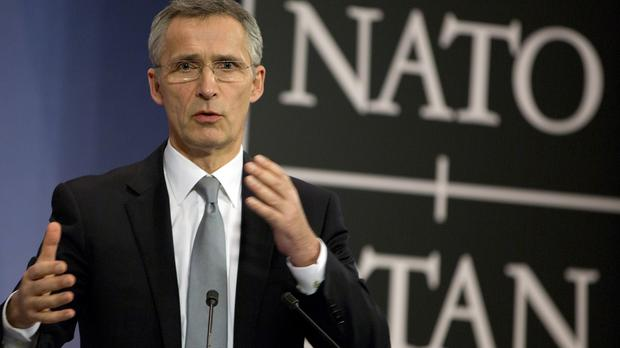 Secretary general Jens Stoltenberg at Nato headquarters in Brussels (AP)
