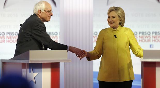 A handshake ends the debate between Democratic presidential candidates Bernie Sanders and Hillary Clinton (AP)