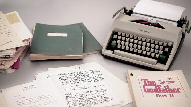 Mario Puzos 1965 Olympia typewriter with manuscripts and versions of both Godfather I and II screenplays (RR Auction/AP)