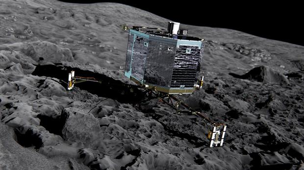 Artist's impression of Philae on the surface of comet 67P/Churyumov-Gerasimenko (European Space Agency/PA)