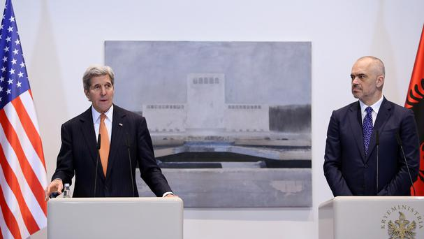John Kerry (left) speaks at a news conference with Albanian Prime Minister Edi Rama (AP)