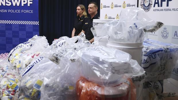 The confiscated drugs on display in Sydney (AP)