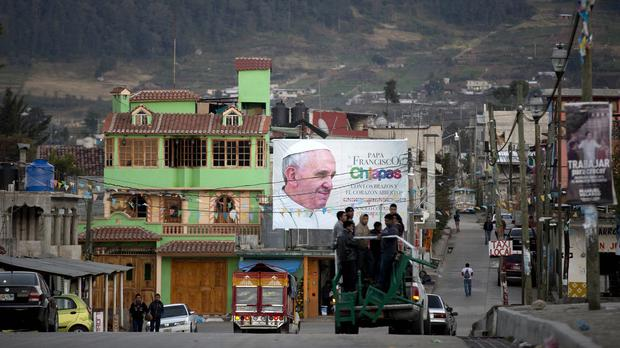 A billboard in Zinacantan, near San Cristobal de las Casas, promotes the visit of Pope Francis to Chiapas state (AP)