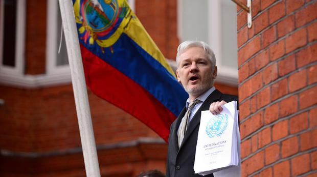 Julian Assange speaking from the balcony of the Ecuadorian embassy in London