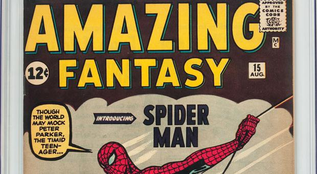 Thus comic features the first appearance of Spider-Man (Heritage Auctions/AP)