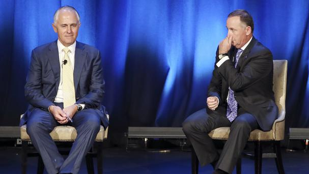 New Zealand prime minister John Key, right, and Australian prime minister Malcolm Turnbull meeting in Sydney (AP)